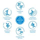 Ícones ajustados, pictograma dos esportes de inverno do vetor Foto de Stock Royalty Free