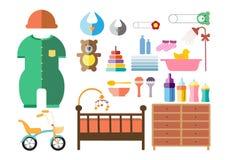 Ícones ajustados, projeto liso da festa do bebê Fotografia de Stock Royalty Free
