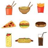 Ícones ajustados, símbolos do fast food do vetor Imagem de Stock