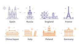 Ícones ajustados, símbolos dos marcos dos capitais do mundo Paris e Londres, Moscou e Espanha, França e China e mais ilustração do vetor