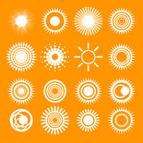 Ícones alaranjados da coleção de Sun Imagem de Stock