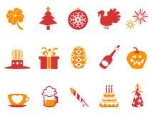 Ícones alaranjados do feriado da cor vermelha ajustados Imagens de Stock Royalty Free