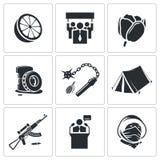 Ícones alaranjados do vetor da revolução ajustados Fotos de Stock