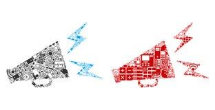 Ícones alertas da colagem do megafone para BigData ilustração do vetor