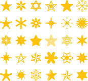 Ícones amarelos da estrela Imagem de Stock Royalty Free