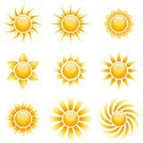 Ícones amarelos do sol ilustração do vetor