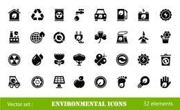 Ícones ambientais Fotografia de Stock