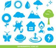 Ícones ambientais ajustados Foto de Stock Royalty Free