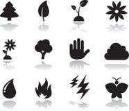 Ícones ambientais ajustados. Imagens de Stock