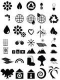 Ícones ambientais preto e branco ilustração royalty free