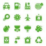 Ícones ambientais verdes Fotografia de Stock