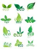 Ícones amigáveis do logotipo de Eco ajustados Fotografia de Stock