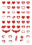 Ícones & símbolos do coração Fotografia de Stock Royalty Free