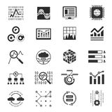 Ícones analíticos da silhueta dos dados Fotografia de Stock Royalty Free
