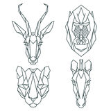 Ícones animais africanos, grupo do ícone do vetor Estilo triangular abstrato Fotos de Stock