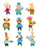 Ícones animais do cozinheiro chefe dos desenhos animados Fotografia de Stock Royalty Free