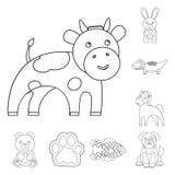 Ícones animais fantasiosos de um esboço na coleção do grupo para o projeto Ilustração da Web do estoque do símbolo do vetor dos a Fotos de Stock Royalty Free