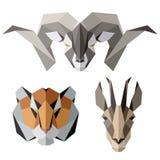 Ícones animais, grupo do ícone do vetor Estilo triangular abstrato Foto de Stock Royalty Free