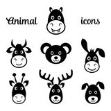 Ícones animais pretos da cara Imagens de Stock Royalty Free