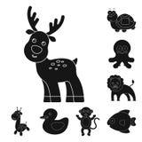 Ícones animais pretos fantasiosos na coleção do grupo para o projeto Ilustração da Web do estoque do símbolo do vetor dos animais Imagens de Stock Royalty Free