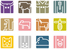 Ícones animais quadrados Fotos de Stock