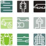 Ícones animais quadrados Imagens de Stock Royalty Free