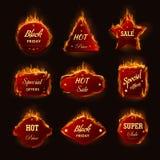 Ícones ardentes do vetor da oferta do promo do disconto da loja de sexta-feira do preto da chama do fogo da venda quente Imagens de Stock