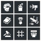 Ícones armados da revolução Ilustração do vetor Imagens de Stock