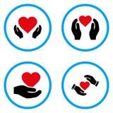 Ícones arredondados mãos do vetor do cuidado do coração do amor imagens de stock
