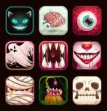 Ícones assustadores do app no fundo preto Moldes móveis assustadores do logotipo do jogo ilustração stock