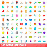 100 ícones ativos ajustados, estilo da vida dos desenhos animados Foto de Stock Royalty Free