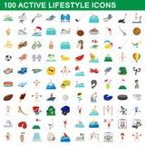 100 ícones ativos ajustados, estilo do estilo de vida dos desenhos animados Imagem de Stock Royalty Free