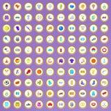 100 ícones ativos da vida ajustados no estilo dos desenhos animados Fotos de Stock