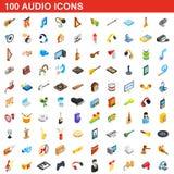 100 ícones audio ajustados, estilo 3d isométrico Fotografia de Stock