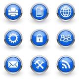 Ícones azuis ajustados Imagens de Stock