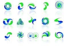 Ícones azuis & verdes Foto de Stock Royalty Free