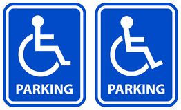 Ícones azuis da cor do sinal deficiente do estacionamento ilustração royalty free
