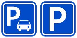 Ícones azuis da cor do sinal do estacionamento com projeto dois ilustração do vetor