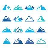 Ícones azuis da montanha ajustados Imagens de Stock Royalty Free