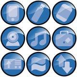 Ícones azuis da onda Foto de Stock Royalty Free