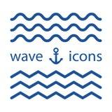 Ícones azuis da onda Ilustração do vetor ilustração stock