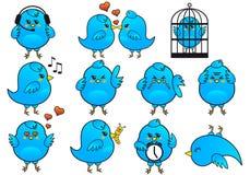 Ícones azuis do pássaro,   Imagem de Stock