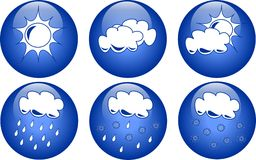 Ícones azuis do tempo Fotografia de Stock Royalty Free