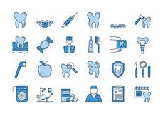 07 ícones azuis dos CUIDADOS DENTÁRIOS ajustados ilustração do vetor
