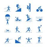 Ícones azuis dos jogos dos esportes das atividades exteriores dos desenhos animados ajustados Vetor ilustração stock