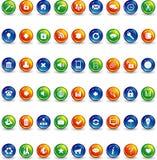 Ícones azuis e verdes alaranjados da tecla ilustração stock