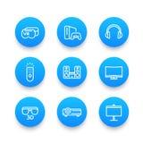 Ícones azuis lineares do sistema do home entertainment ajustados ilustração do vetor