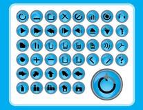 Ícones azuis lustrosos Fotografia de Stock Royalty Free