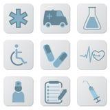 Ícones azuis médicos ilustração stock