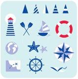 Ícones azuis náuticos e do marinheiro ilustração royalty free